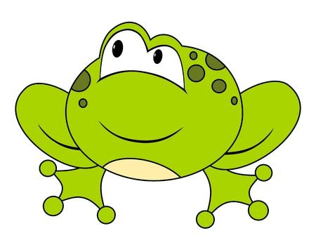 cartoon frog: Cartoon sitting frog. Isolated on white