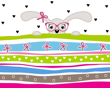 girl wearing glasses: Cute bunny girl wearing glasses on striped background with hearts and ribbons