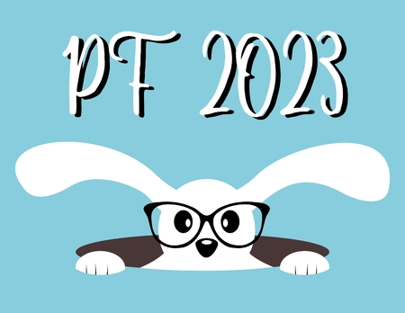 pf: Happy New Year 2023. PF 2023. Chinese Year of the Hare. Hare in hole with glasses Illustration