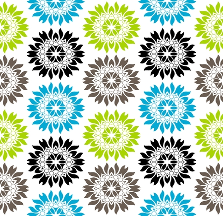 vibrant: Seamless vibrant colored floral pattern on white background Illustration