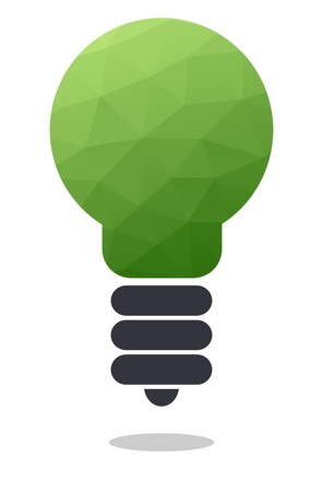 dropshadow: Green low polygonal light bulb icon isolated on white background