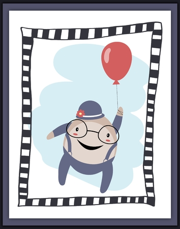 humpty dumpty: Humpty Dumpty with balloon card. Applied for print, cards etc.