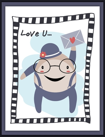 humpty dumpty: Humpty Dumpty lover with heart envelope card Stock Photo