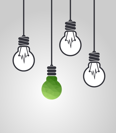 pioneering: Low poly light bulb different among the others. Copy space. Ecological concept. Innovative concept