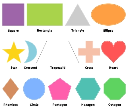 trapezoid: Basic shapes for kids. Learn 2D shapes. Isolated on white background. Design elements for children Illustration