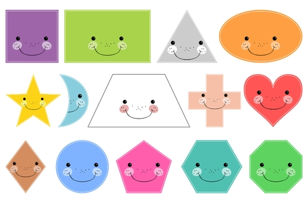 Cartoon geometrische basisvormen. Lachende vormen. Geïsoleerd op witte achtergrond Ontwerpelementen voor kinderen Stock Illustratie