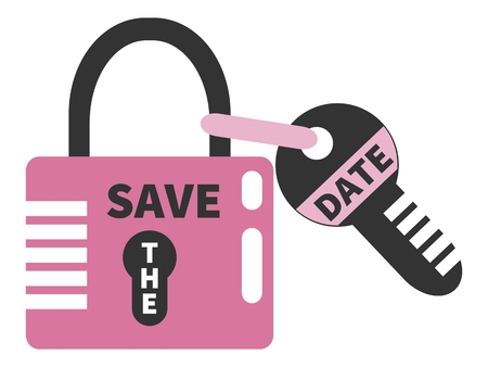 empty keyhole: Closed pink padlock and key with words SAVE THE DATE. Illustration
