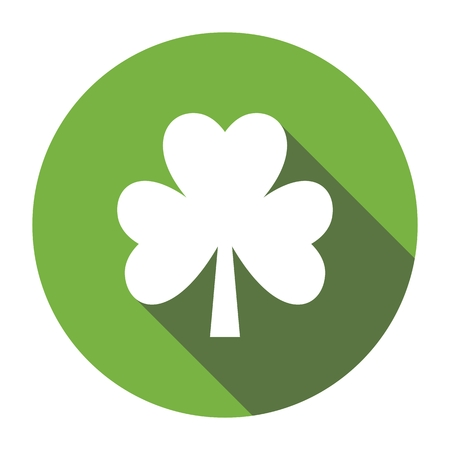Four leaf clover. Shamrock. Flat design. Isolated on white background. Good luck symbol