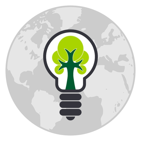Global light bulb with tree inside. Icon isolated on white background. Ecology lamp icon