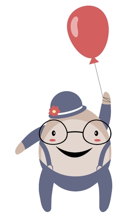 spectacled: Happy stylized spectacled man with balloon isolated on white background
