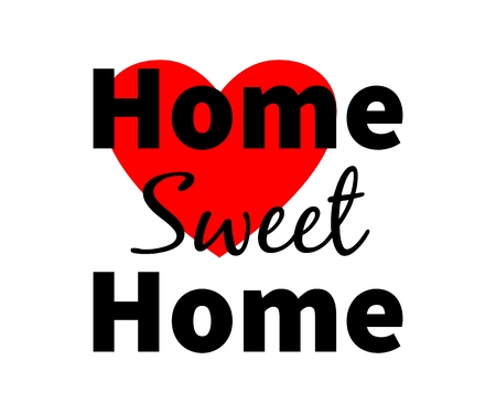 sweet heart: Home sweet home. Red heart. Design for web, print etc. Isolated. White background