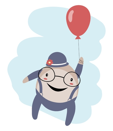spectacled: Humpty Dumpty with balloon over blue sky isolated on white background Illustration