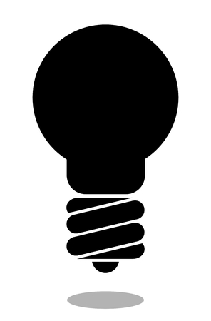 Lamp silhouette isolated on white background. Light bulb icon Illustration
