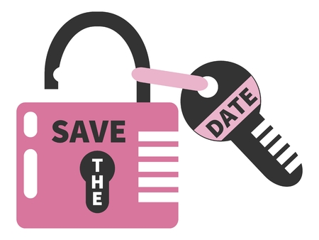 tagged: Opened pink padlock and key  with words SAVE THE DATE. Isolated on white background Illustration
