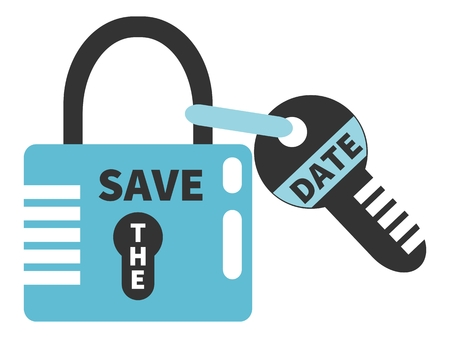 tagged: Padlock and key with words SAVE THE DATE. Typographic design element isolated on white background