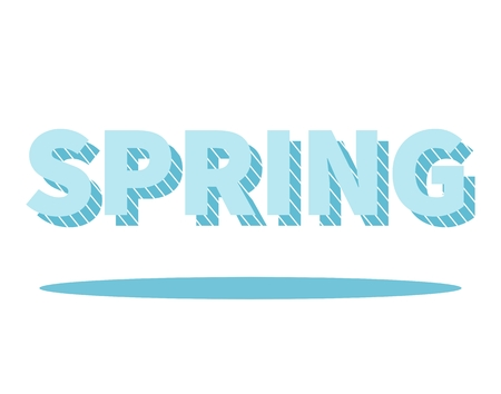 dropshadow: Spring lettering with drop shadow. Graphic element for your design. Isolated on white background