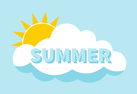 behind: Summer lettering and sun behind cloud background. Summer concept. Flat design. Sun. Summer holiday design.