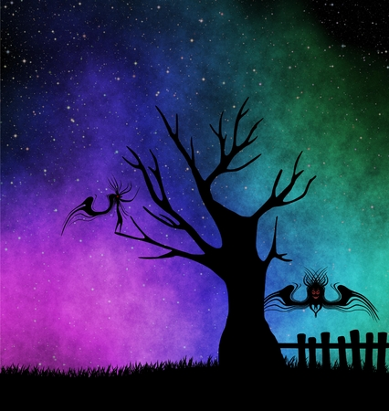 starry night: Halloween monsters. Tree. Starry night