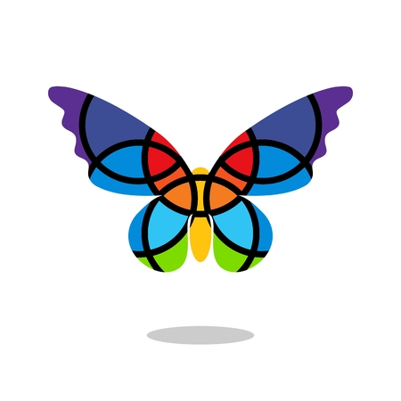 dropshadow: Butterfly mosaic isolated with drop shadow. White background. Butterfly. Fragmented butterfly clipart. Isolated. White background Illustration