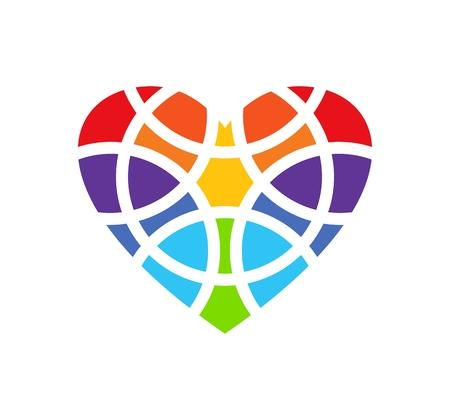 heart clipart: Colored heart. Heart design. Heart design element. Heart clipart. Heart icon. Fragmentized heart shape. Isolated. White background Illustration