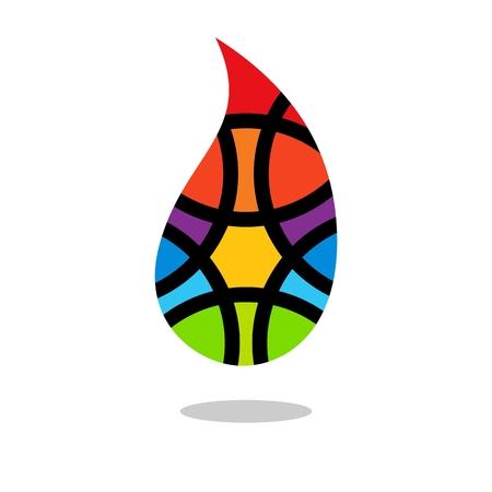Colorful drop. Colored drop. Drop design. Drop design element. Drop shadow. White background Illustration