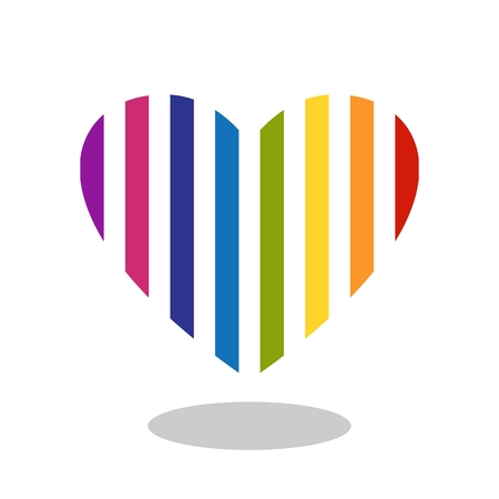 dropshadow: Colorful striped heart icon with drop shadow. Isolated on white background