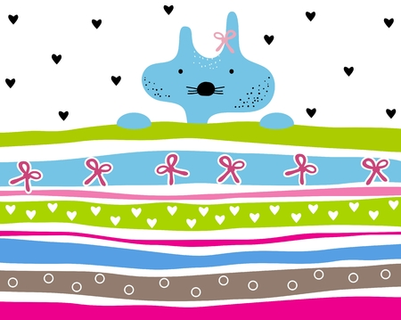 moggie: Cute kitty girl striped background with hearts and ribbons. Animal striped background. Kitty wallpaper for girls Illustration