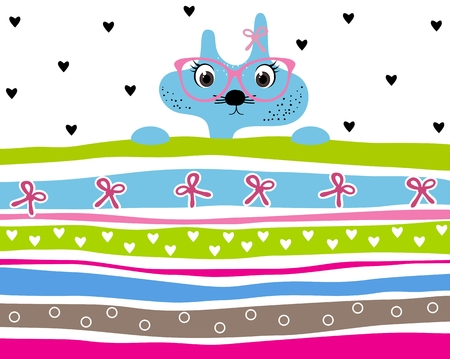 girl wearing glasses: Cute kitty girl wearing glasses striped background with hearts and ribbons. Animal striped background. Kitty wallpaper for girls