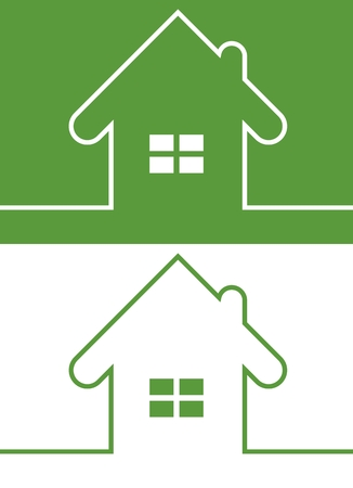 reversed: Green House Icon with Window Reversed colors. Minimal card with house design. Copy space