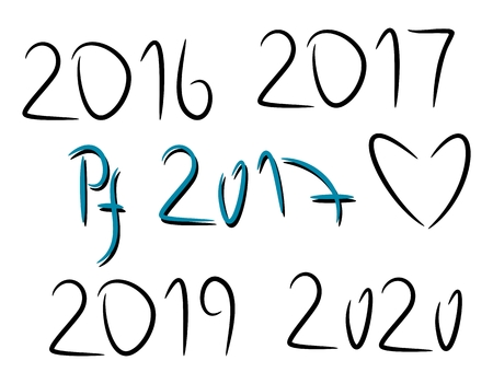 pf: Hand drawn elements. 2016, 2019, 2020. PF 2017. Graphic elemenet for your design Illustration