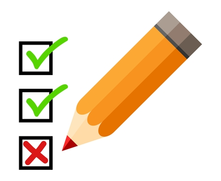 red pencil: Checklist and pencil. Checking off tasks. White background. Red pencil. Green check mark. Green tick icon