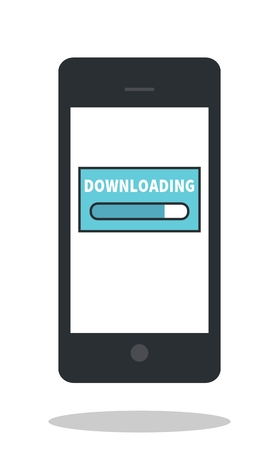 dropshadow: Mobile phone downloading icon. Smartphone icon. Cellphone icon. Flat design. Drop shadow. Isolated. White background