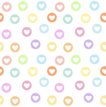 valentineday: Motley seamless girly pattern with pastel colored heart circles. White background
