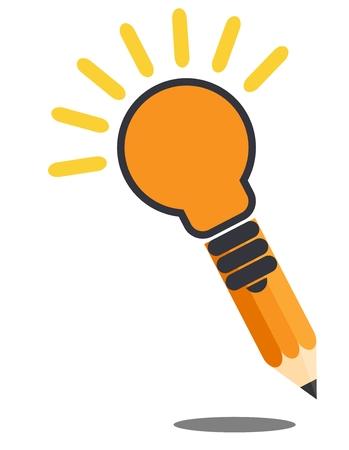 ligh: Pencil ligh bulb. Drop shadow. Creative idea concept. Isolated on white background