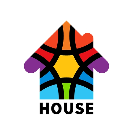 brokerage: Real estate house. Icon. Design template element. Colorful house clipart