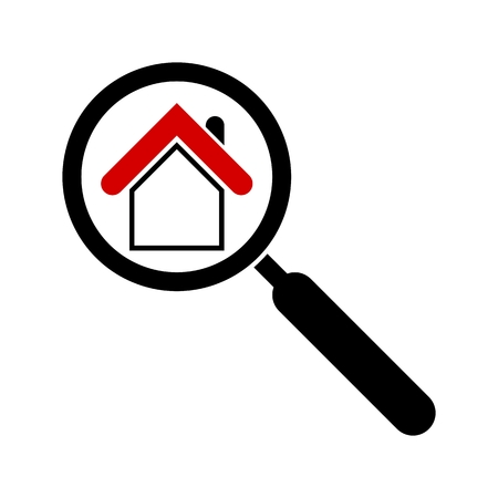 forsale: Search house icon. Magnifier. Real estate icon. Isolated on white background