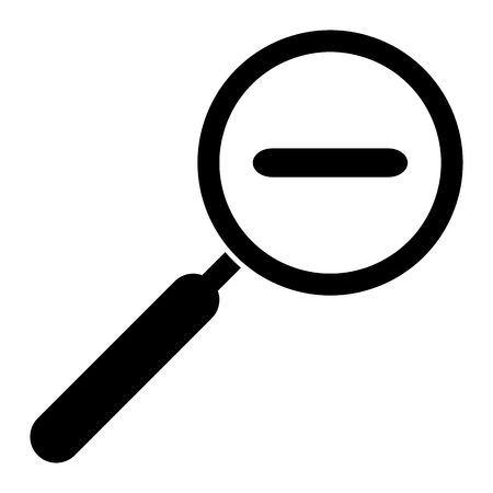 out of use: Zoom out icon. Magnifying glass with minus symbol. Isolated on white background. For web use, print etc. Illustration