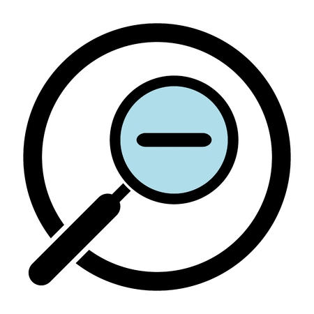 handglass: Zoom out magnifier icon. Magnifying glass in a circle. Hand glass icon. Magnifier silhouette. Isolated. White background