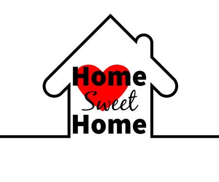 outline red: Home sweet home text. House outline. Red heart. Minimal card design for web, greeting cards, prints etc. Typographic Illustration