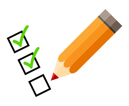 green tick: Checklist and pencil. Tick icons. Check mark. Isolated. White background. Red pencil. Green check mark. Green tick icon