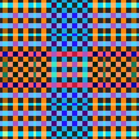 Vibrant colored gingham seamless background. Chequered pattern. Colorful checkered wallpaper.