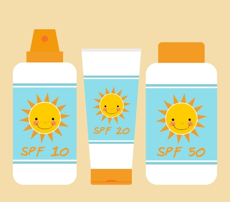 sun tanning: Cute bottles of sunscreen with different SPF (sun protection factor). Smiling sun motif. Bottles of sunscreen with sun motif. Flat style. Tube container of sun cream. Summer, sun tanning and sunscreen concept. Sun care cosmetics. Summer theme. Isolated. P Illustration