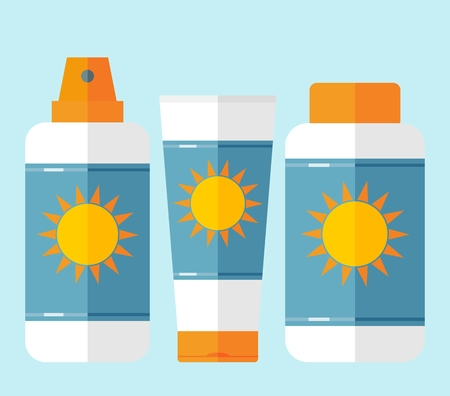 sun tanning: Bottles of sunscreen with sun motif. Bottles with cream after sun lotion. Flat style. Tube container of sun cream or after sunburn cream. Summer, sun tanning and sunscreen concept. Sun care cosmetics. Summer theme. Isolated. Pale blue background Illustration
