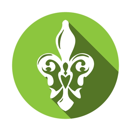 white lily: Fleur de lis symbol with long shadow. White lily in a green circle. French lily icon isolated on a white background