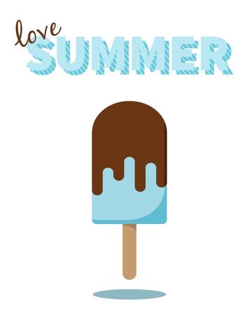 popsicle: Love Summer lettering. Popsicle design for cards, prints, t-shirts, web etc. Design element. Summer theme concept. Illustration