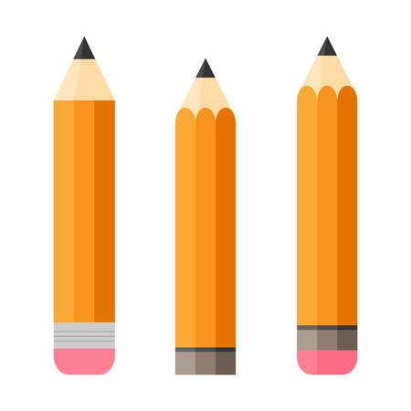 writing implements: Set of three pencils. Pencil with eraser. Isolated. Flat design. Writing implements. Isolated. White background. Vertically oriented. Flat design Illustration