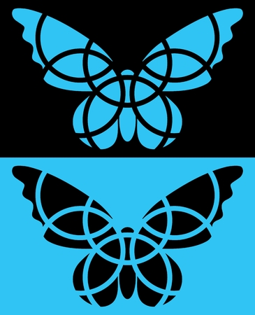 reversed: Butterfly mosaic icon. Isolated. Blue and black colors. Reversed colors. Applied for t-shirt, website etc