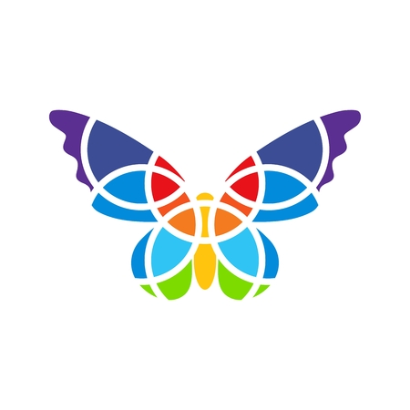 Butterfly mosaic isolated. White background. Fragmented. Butterfly logo.