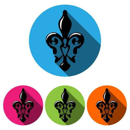 Fleur De Lis Symbol With Long Shadow French Lily Icon Isolated