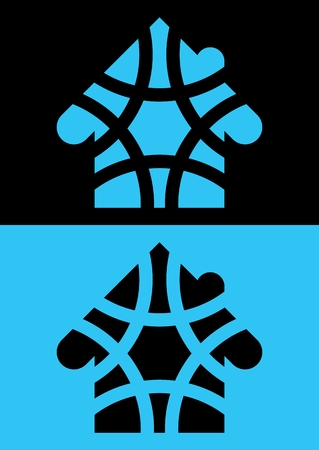 dichromatic: House mosaic icon. Isolated. Blue and black colors. Dichromatic. Reversed colors. Applied for t-shirt, website etc Illustration